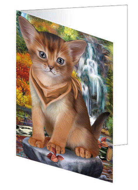 Scenic Waterfall Abyssinian Cat Note Card NCD68399