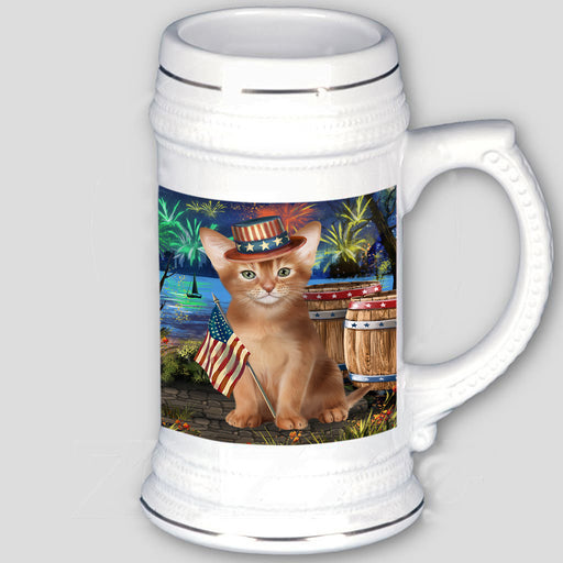 4th of July Independence Day Firework Abyssinian Cat Beer Stein BST55519