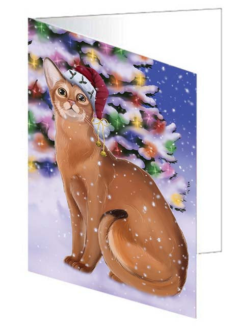 Winterland Wonderland Abyssinian Cat In Christmas Holiday Scenic Background Note Card NCD71537