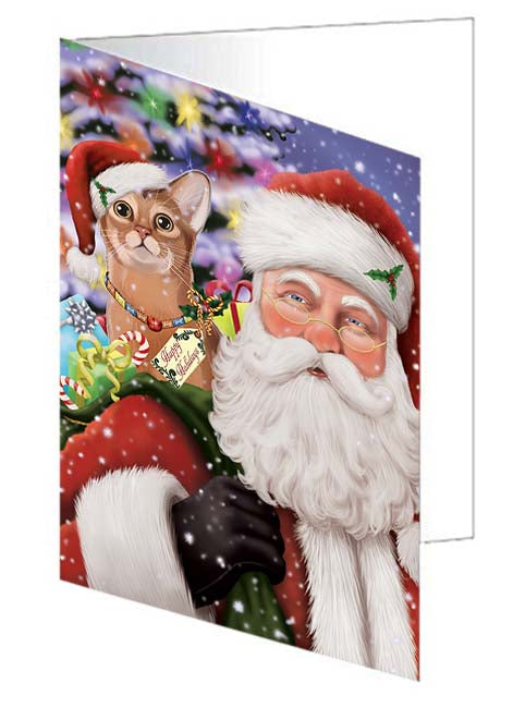 Santa Carrying Abyssinian Cat and Christmas Presents Note Card NCD70937