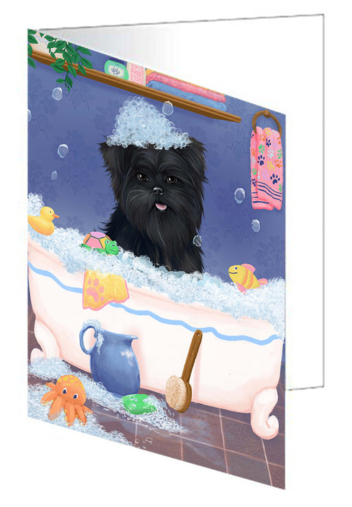 Rub A Dub Dog In A Tub Affenpinscher Dog Greeting Card GCD79145