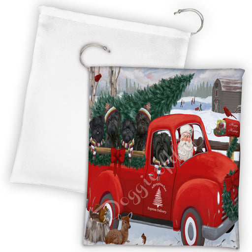 Christmas Santa Express Delivery Red Truck Affenpinscher Dogs Drawstring Laundry or Gift Bag LGB48262