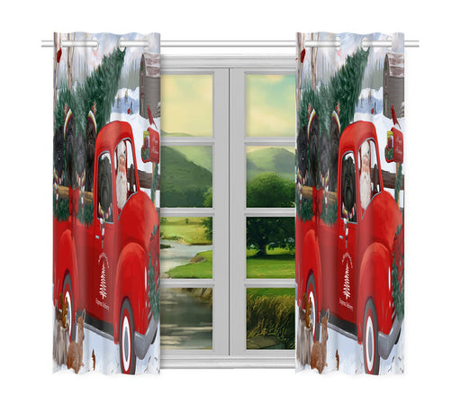 Christmas Santa Express Delivery Red Truck Affenpinscher Dogs Window Curtain