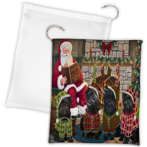 Christmas Cozy Holiday Fire Tails Affenpinscher Dogs Drawstring Laundry or Gift Bag LGB48456