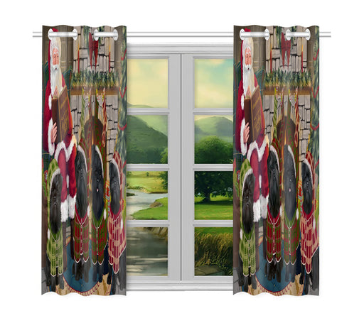 Christmas Cozy Holiday Fire Tails Affenpinscher Dogs Window Curtain
