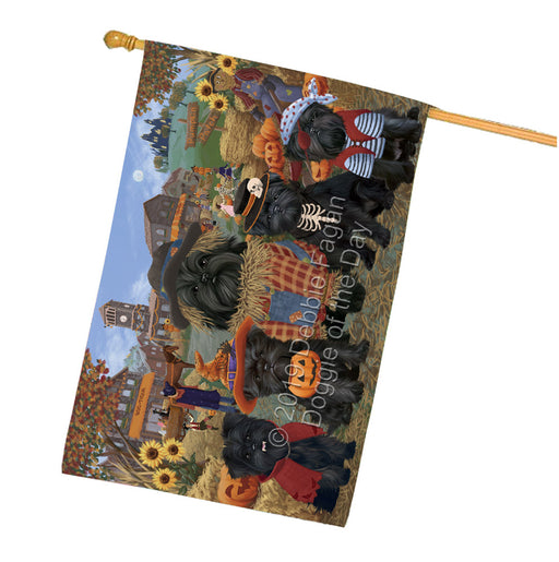 Halloween Round Town And Fall Pumpking Scarecrow Both Affenpinscher Dogs Garden Flag GFLG65555