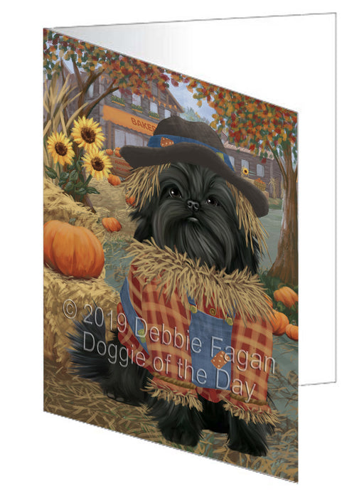 Fall Pumpkin Scarecrow Affenpinscher Dog Greeting Card GCD77894