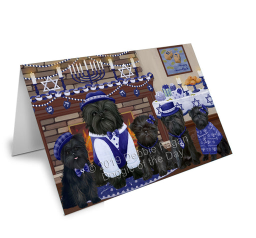 Happy Hanukkah Family Affenpinscher Dogs Greeting Card GCD78077