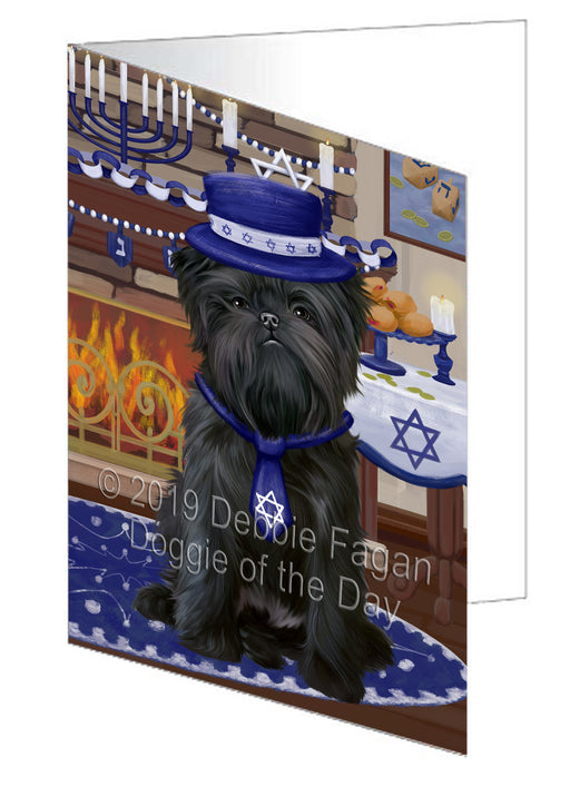 Happy Hanukkah Affenpinscher Dog Greeting Card GCD78245