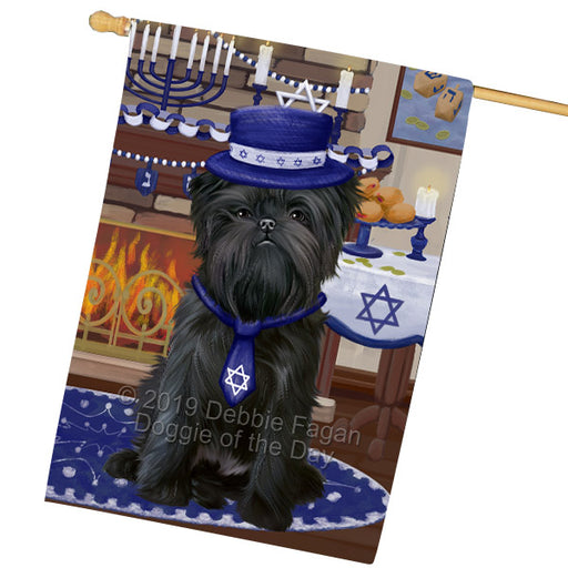 Happy Hanukkah Family and Happy Hanukkah Both Affenpinscher Dog Garden Flag GFLG65677