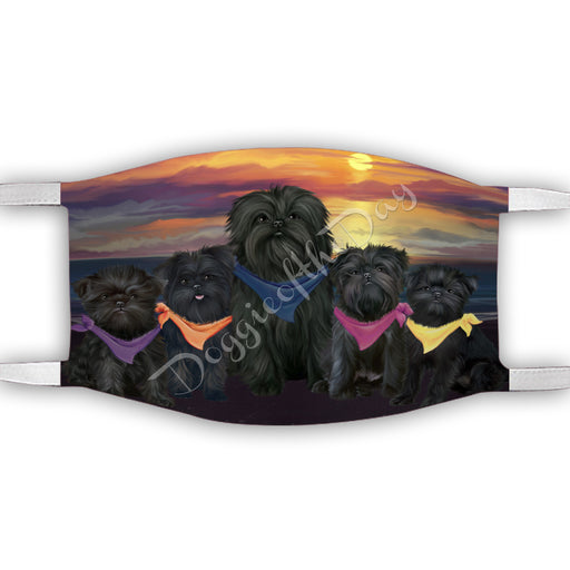 Family Sunset Affenpinscher Dogs Face Mask FM49159