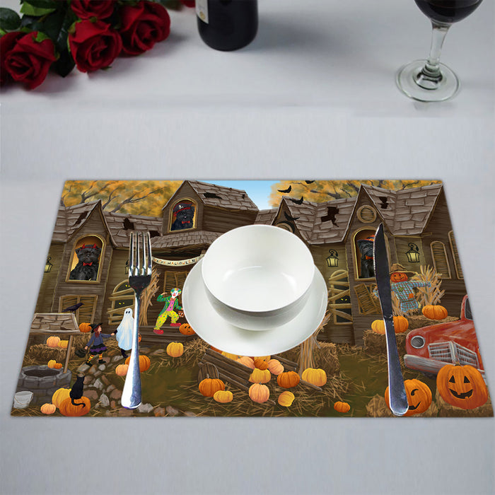 Haunted House Halloween Trick or Treat Affenpinscher Dogs Placemat