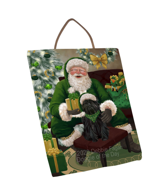 Christmas Irish Santa with Gift and Affenpinscher Dog Wall Décor Hanging Photo Slate SLTH58300