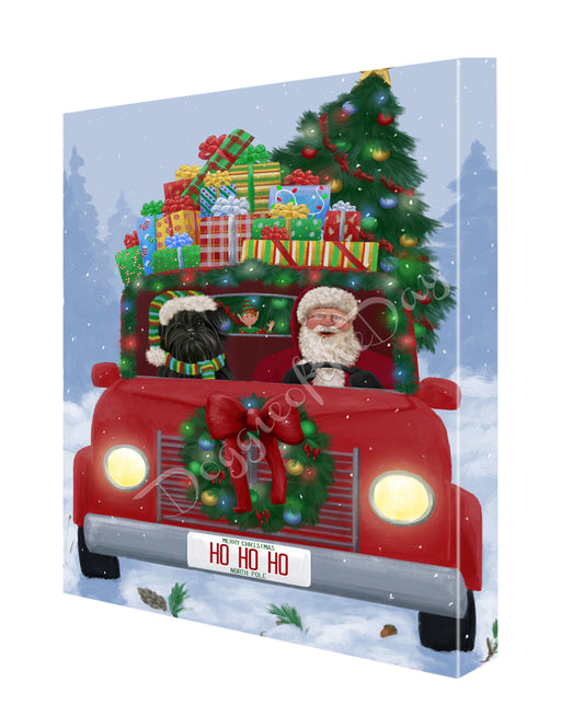 Christmas Honk Honk Here Comes Santa with Affenpinscher Dog Canvas Print Wall Art Décor CVS146474