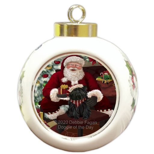 Santa's Christmas Surprise Affenpinscher Dog Round Ball Christmas Ornament RBPOR57988