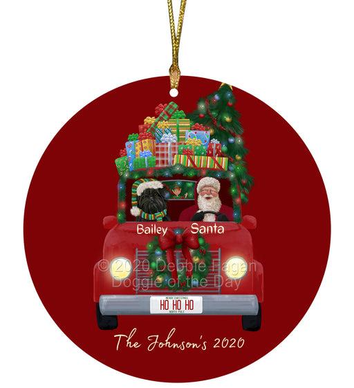 Personalized Christmas Honk Honk Red Truck Here Comes with Santa and Affenpinscher Dog Round Flat Ornament PRBPOR59040