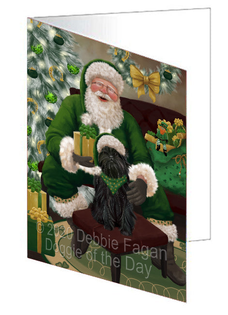 Christmas Irish Santa with Gift and Affenpinscher Dog Note Card NCD75740