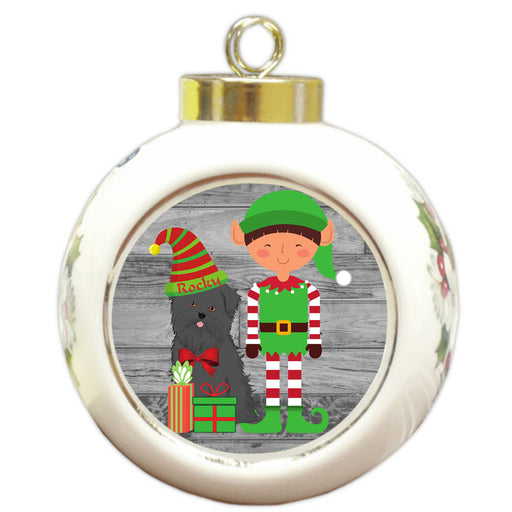 Custom Personalized Affenpinscher Dog Elfie and Presents Christmas Round Ball Ornament