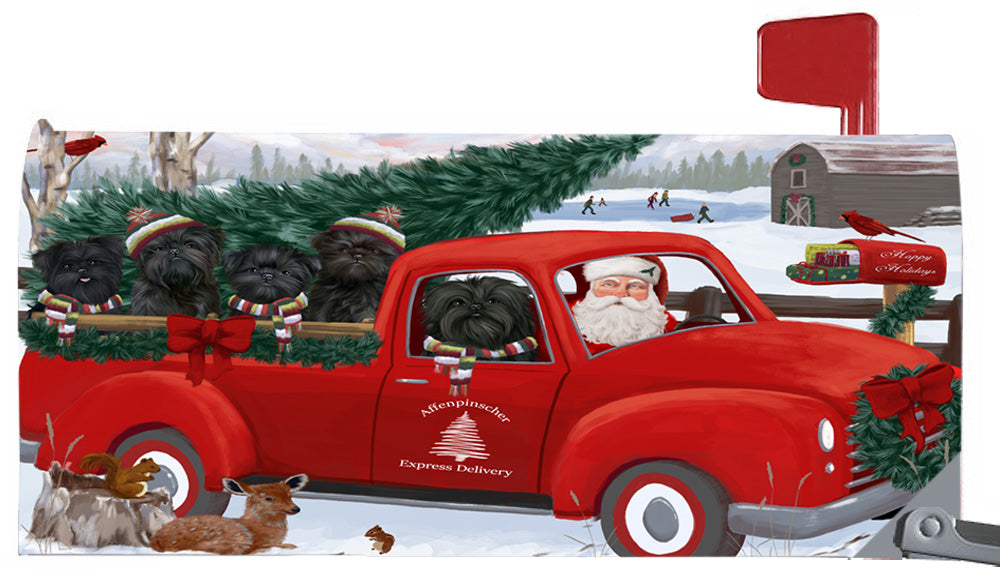Magnetic Mailbox Cover Christmas Santa Express Delivery Affenpinschers Dog MBC48278