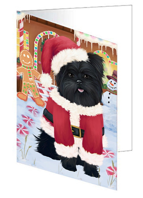 Christmas Gingerbread House Candyfest Affenpinscher Dog Note Card NCD72854