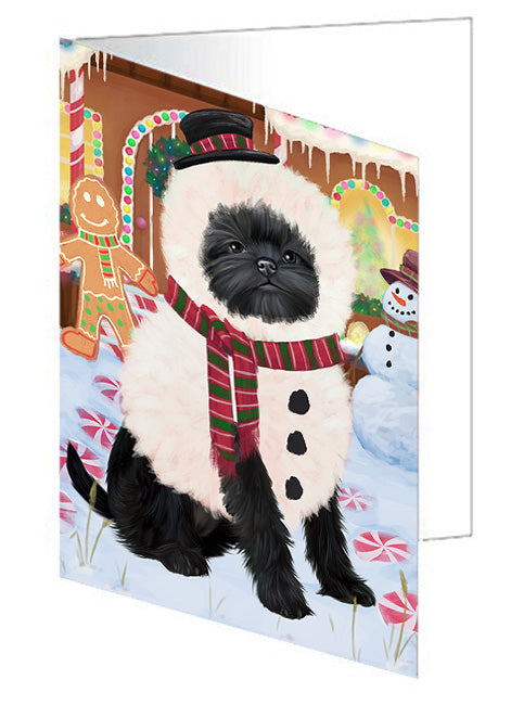 Christmas Gingerbread House Candyfest Affenpinscher Dog Note Card NCD72857