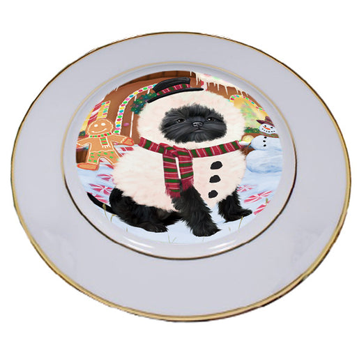 Christmas Gingerbread House Candyfest Affenpinscher Dog Porcelain Plate PLT54463