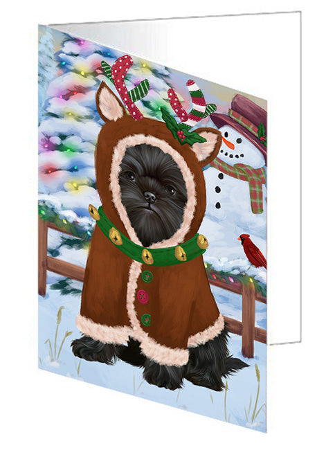 Christmas Gingerbread House Candyfest Affenpinscher Dog Note Card NCD72860