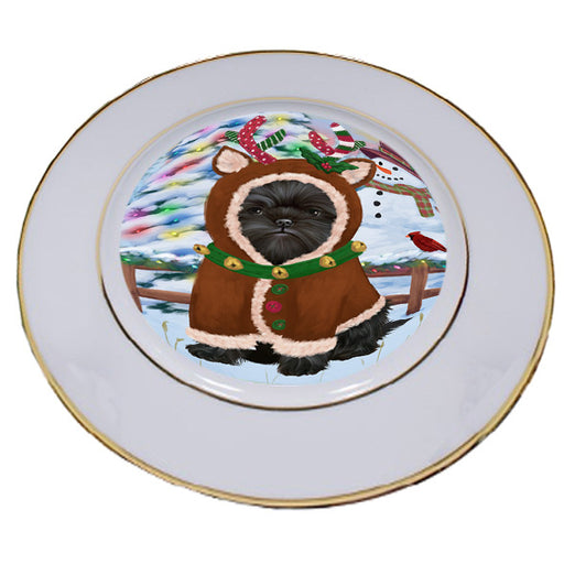 Christmas Gingerbread House Candyfest Affenpinscher Dog Porcelain Plate PLT54464