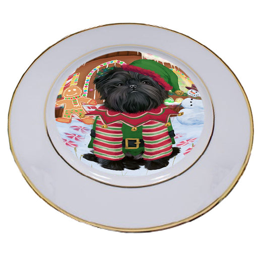 Christmas Gingerbread House Candyfest Affenpinscher Dog Porcelain Plate PLT54465