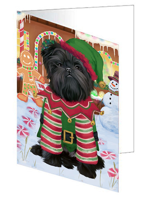Christmas Gingerbread House Candyfest Affenpinscher Dog Note Card NCD72863