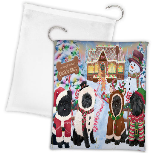 Holiday Gingerbread Cookie Affenpinscher Dogs Shop Drawstring Laundry or Gift Bag LGB48553