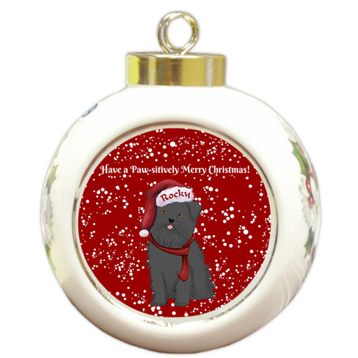 Custom Personalized Pawsitively Affenpinscher Dog Merry Christmas Round Ball Ornament