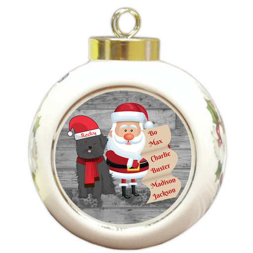 Custom Personalized Santa with Affenpinscher Dog Christmas Round Ball Ornament