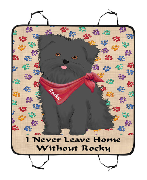 Personalized I Never Leave Home Paw Print Affenpinscher Dogs Pet Back Car Seat Cover