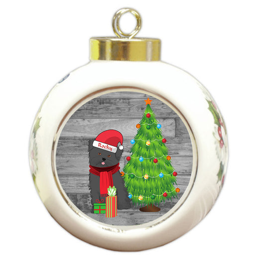 Custom Personalized Affenpinscher Dog With Tree and Presents Christmas Round Ball Ornament