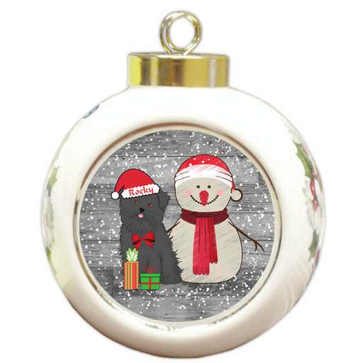 Custom Personalized Snowy Snowman and Affenpinscher Dog Christmas Round Ball Ornament