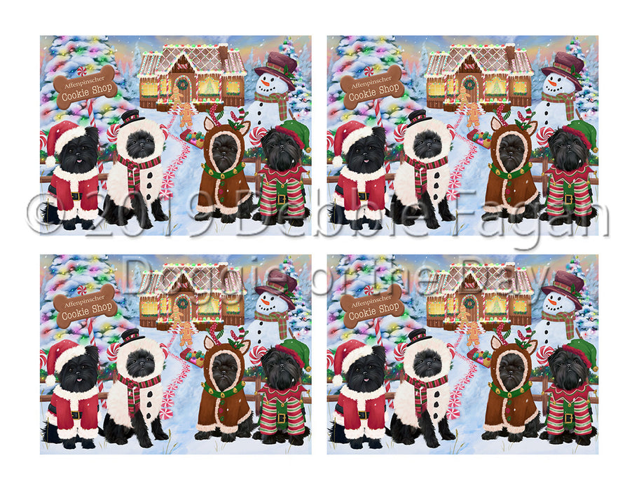 Holiday Gingerbread Cookie Affenpinscher Dogs Placemat