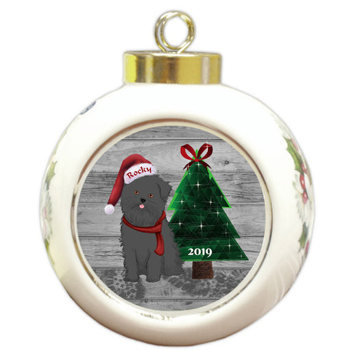 Custom Personalized Affenpinscher Dog Glassy Classy Christmas Round Ball Ornament