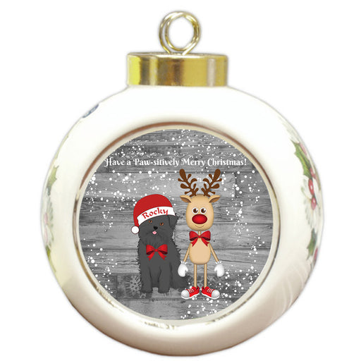 Custom Personalized Affenpinscher Dog Reindeer and Pooch Christmas Round Ball Ornament