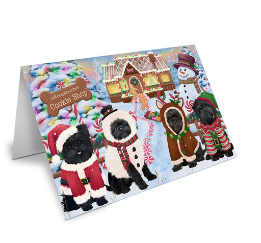 Holiday Gingerbread Cookie Shop Affenpinschers Dog Note Card NCD72782