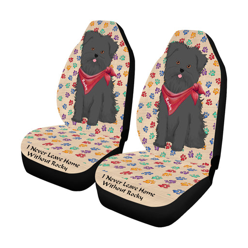 Personalized I Never Leave Home Paw Print Affenpinscher Dogs Pet Front Car Seat Cover (Set of 2)