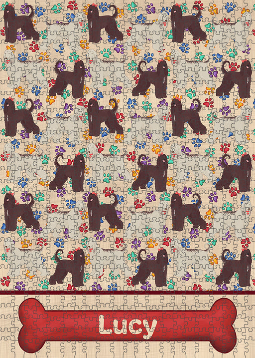 Rainbow Paw Print Afghan Hound Dogs Puzzle with Photo Tin PUZL97460