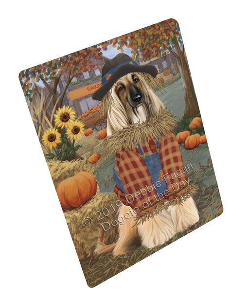 "Halloween 'Round Town And Fall Pumpkin Scarecrow Both Afghan Hound Dogs Magnet MAG77182 (Mini 3.5"" x 2"")"