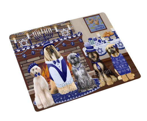 "Happy Hanukkah Family and Happy Hanukkah Both Afghan Hound Dogs Magnet MAG77533 (Mini 3.5"" x 2"")"