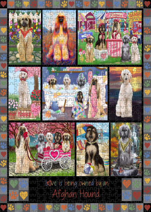 Love is Being Owned Afghan Hound Dog Grey Puzzle with Photo Tin PUZL98144