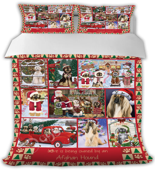 Love is Being Owned Christmas Afghan Hound Dogs Bed Comforter CMFTR48686