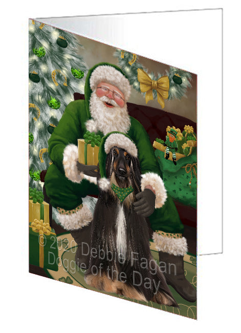 Christmas Irish Santa with Gift and Afghan Hound Dog Note Card NCD75749