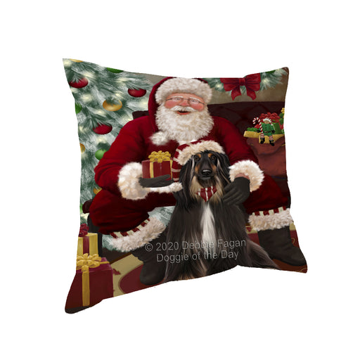 Santa's Christmas Surprise Afghan Hound Dog Pillow PIL87048