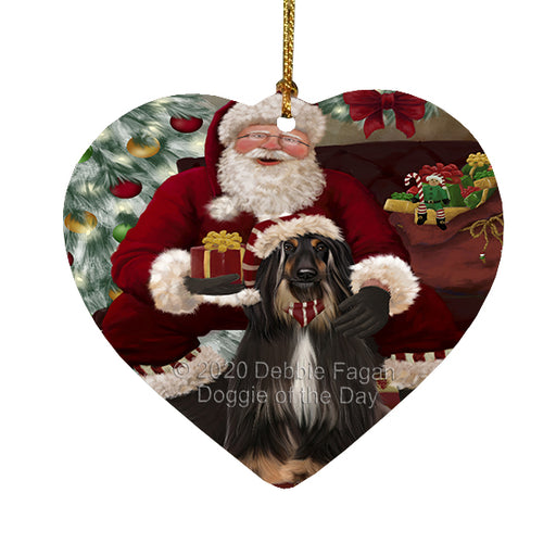 Santa's Christmas Surprise Afghan Hound Dog Heart Christmas Ornament RFPOR58333