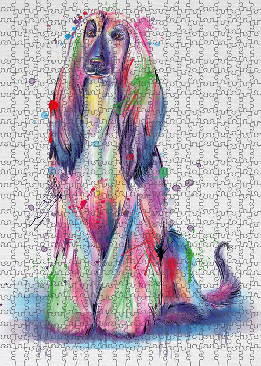 Watercolor Afghan Hound Dog Puzzle with Photo Tin PUZL97068